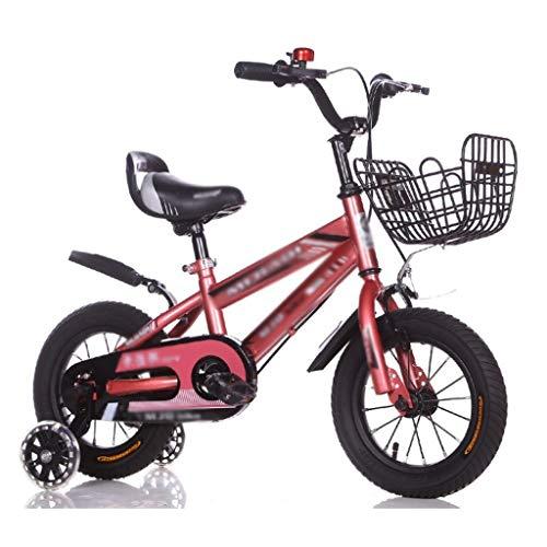 LDDLDG Bicicleta infantil con ruedas de apoyo para niños de 2 a 10 años, 12, 14, 16 y 18 pulgadas, con freno de mano, rueda de apoyo y rueda auxiliar de flash (color rosa, tamaño: 14 pulgadas)