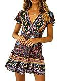 R.Vivimos Women's Summer Short Sleeve Casual Bohemian Beach Ruffle Floral Print Bow Tie Short Sun Dress (XS, Dark Blue)