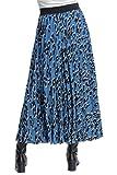 Roman Originals Falda plisada con estampado animal para mujer, diseño de leopardo, casual, vacaciones, verano, flotante, elástica, media longitud en contraste, cintura alta, Azul 1, 40