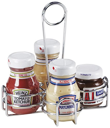G.E.T. Enterprises 4-221623 Metal Four Compartment Condiment Caddy, Iron, Chrome (Qty 1)
