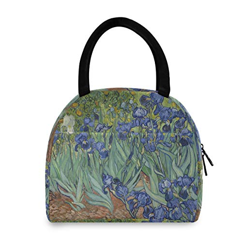 QMXO Watercolor Van Gogh Iris Flower Lunch Bag Box for Women Cooler Bag Tote Insulated Food Water Resistant Lunch Box Organizer Thermal Handbag for Women Men Adults Girl Outdoor