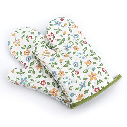 Voarge 1 Paar Verdickte Hitzebeständige Ofenhandschuhe, Backofenhandschuh Hitzebeständig, in vielen lustigen Designs, Geblümt grün