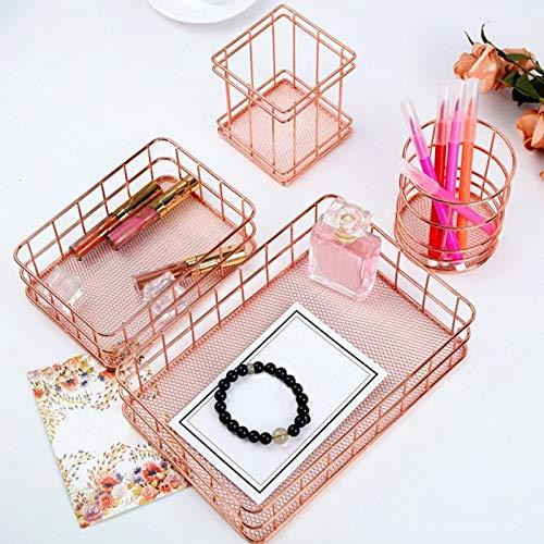 changshuo Cesta de Almacenamiento 4pcnordic Rose Gold Metal Iron Storage Basket Combination Holder Escritorio Accesorios De Escritorio Papelería Organizador