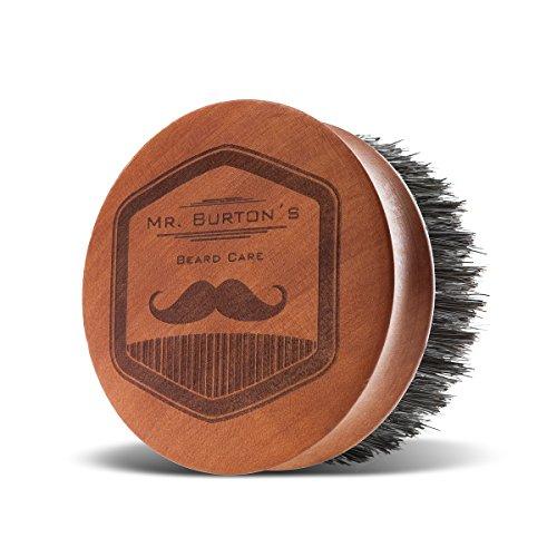 Mr Burton Brosse à barbe en bois véritable Fabriqué en Allemagne avec poils de sanglier 100 % naturels