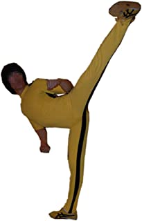 Classical Yellow Jumpsuit Bodysuit Costume for Halloween Cosplay Unisex Black Striped