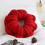 BATTILO HOME Handmade Knot Ball Plush Throw Pillow Donut Sofa Accent Pillow Seat Cushion- Home Office Sofa Decor, Red