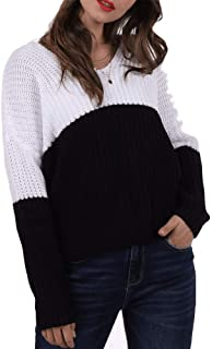 Liyuandian Womens V Neck Pullover Sweaters Color Block Dolman Sleeve Lightweight Knit Tops