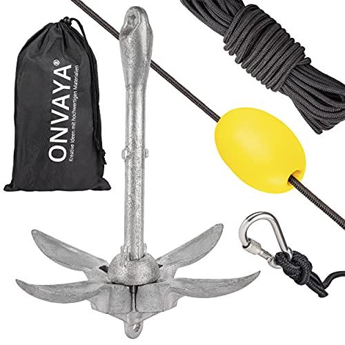 ONVAYA® Bootsanker   1,5 kg   Klappanker   Set inklusive Ankerleine mit Karabiner, Ankerboje und Transportbeutel   Faltanker   Anker für Boot, Schlauchboot, SUP, Kajak, Kanu