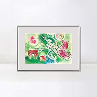 INVIN ART Framed Canvas Giclee Print Art Romeo and Juliette by Marc Chagall Wall Art Living Room Home Office Decorations(Aluminum Metal White Frame with Mat & Glass,24