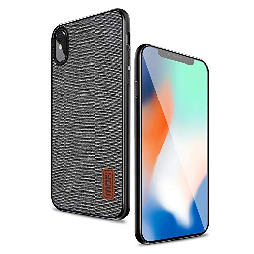 Mofi iPhone X Case Covers with Art Cloth & Soft TPU Edge and Full-Edge Protection Shock- Absorbing and with Great Grip Fully Compatible for iPhoneX(Gray)
