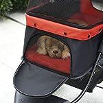 PawHut Folding Pet Stroller 3 Wheel Dog Jogger Travel Carrier Adjustable Canopy Storage Brake Mesh Window for Small Medium Dog Cat Red 12