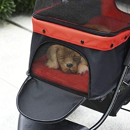 PawHut Folding Pet Stroller 3 Wheel Dog Jogger Travel Carrier Adjustable Canopy Storage Brake Mesh Window for Small Medium Dog Cat Red 3