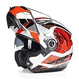Mdsfe Casco da moto originale per uomo e donna con doppia visiera parasole, casco da moto modulare resistente ai raggi UV con visiera parasole interna - 8 XM