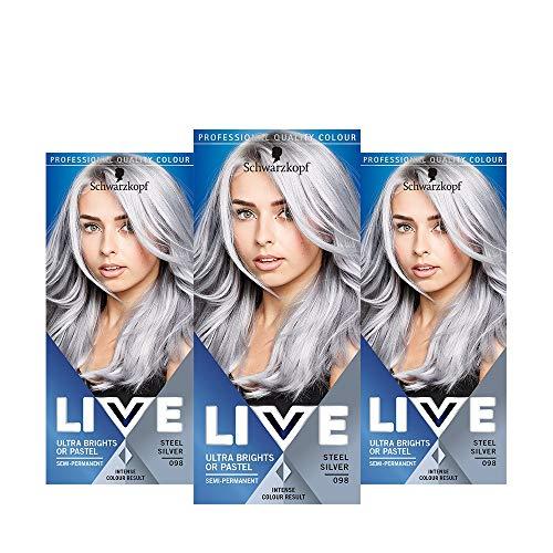 Schwarzkopf LIVE Ultra Bright or Pastel Grey Hair Dye, Pack of 3,...
