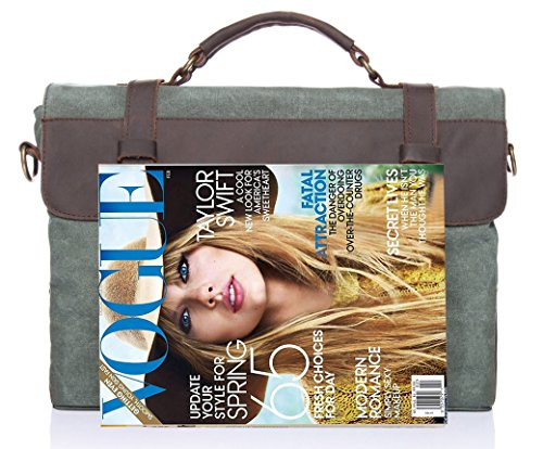 EcoCity Cotton Canvas Vintage Leather Messenger Bags Cross Body Laptop Business Shoulder Hand bag MB0035G1