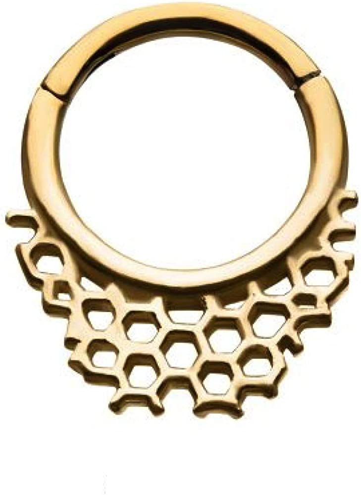 16GA Honeycomb Design Stainless Steel Hinged Segment Ring for Septum, Cartilage, and Daith Piercings