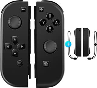 OIVO Joy-Con (L) / (R) ブラック Joy-Conハンドル Nintendo Switch対応 ジョイコンハンドル ストラップ付き ジャイロ機能 ワイヤレス接続 ブルートゥース接続