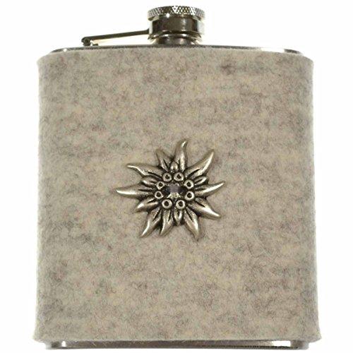 FLACHMANN aus Edelstahl | 7 OZ Hip Flask mit abnehmbarer Hülle aus Filz (Hellgrau) | zur Tracht mit Edelweiss | Outdoor Trinkflasche | Taschenflasche für Schnaps