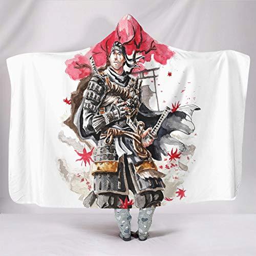 Aquarell Japanisch Krieger Ahorn Blatt...