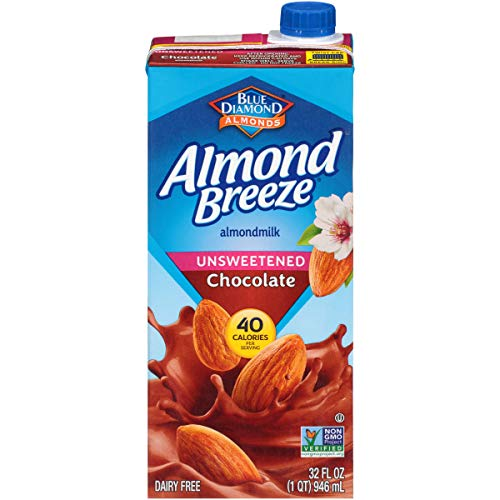 Blue Diamond Almonds Almond Breeze Dairy Free Almondmilk, Unsweetened, Chocolate, 32 Oz Box, Unsweetened Chocolate, 384 Fl Oz (Pack of 12)