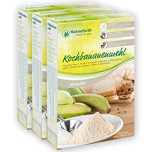 Reines glutenfreies Kochbananenmehl | 3x500gr | Hanneforth
