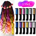 VSADEY 12 Color Hair Chalk for Girls, Temporary Hair Chalk Comb with Shawl, Washable Glitter Hair Color Kit for Makeup Party Cosplay Halloween Christmas for Girls Kids Adult