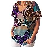 VCAOKF Camiseta de manga corta para mujer con estampado floral y estampado sexy, manga corta y estampado de flores, tallas S-5XL marrón XL