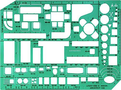 Linex LXG1263S Möbelschablone mit Möbeln und Raumsymbolen (Maßstab 1:50, 230 x 160 mm) grün getönt