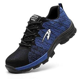 51MojR7ZqRL. SS300  - HYHAOO Zapatos de Seguridad para Hombre Transpirable Ligeras con Puntera de Acero Zapatillas de Seguridad Trabajo Unisex Calzado de Industrial y Deportiva
