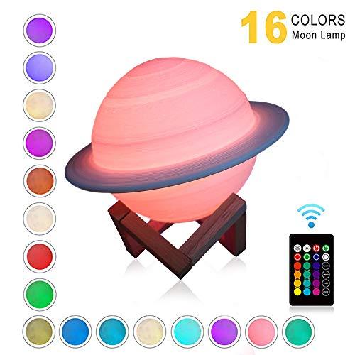 ONEVER Lámpara De Saturno De Impresión 3d Recargable Como La Lámpara De Luna Luz Nocturna Para Luz De Luna Con 16 Colores Regalos Remotos