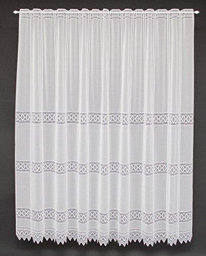 Tenda della finestra Jacquard graficamente altezza 180 cm | Può scegliere la larghezza in segmenti da 13 cm, come vuole | Colore: Bianco