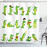 ABAKUHAUS Krokodil Duschvorhang, Gruppe von Funny Animals, aus Stoff inkl.12 Haken Digitaldruck Farbfest Langhaltig Bakterie Resistent, 175x180 cm, Lime Green Multicolor
