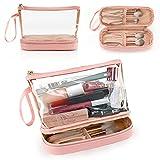 Clear Makeup Bag, Small Makeup Bag for Purse Travel Makeup Bag for Women TSA Approved Cosmetic Bag Waterproof Toiletry Bag Pink