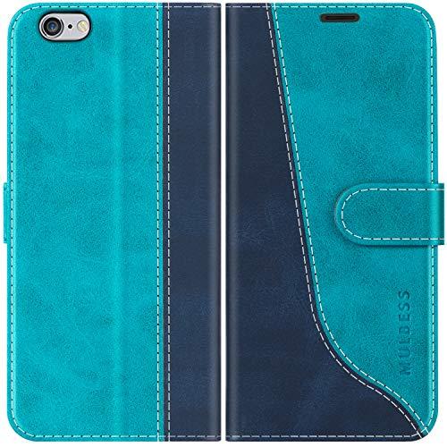 Mulbess Custodia per iPhone 6s, Cover iPhone 6s Libro, Custodia iPhone 6, Custodia iPhone 6s Pelle, Flip Cover per iPhone 6s Portafoglio, Blu Mint