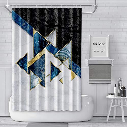 "JOYMIN Luxury Marble Shower Curtain, Geometric Triangle Black & White Marble Texture Shower Curtain Set Modern Bathroom Accessories, Machine Washable, 72"" X 72"