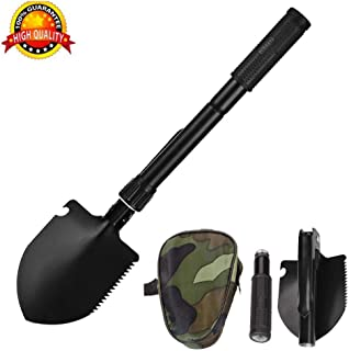 BOBKY Military Folding Shovel Multi-Function Tool with Carrying Pouch Portable Survival Spade Kit for Camping Gardening Hiking Backpacking Outdoor