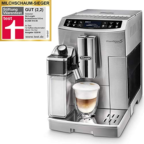 De'Longhi Primadonna S Evo, Fully Automatic Bean to Cup Coffee Machine, Espresso and Cappuccino Maker,Stainless Steel, ECAM 510.55.M, Metal