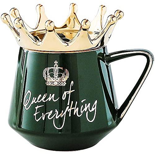 Taza de Cerámica de 400 Ml con Tapa de Corona - Taza de Novedad de La Reina de Todo con Tapa de Corona Taza de Café de Cerámica para Regalo para Pareja o Amigos,Blue-OneSize