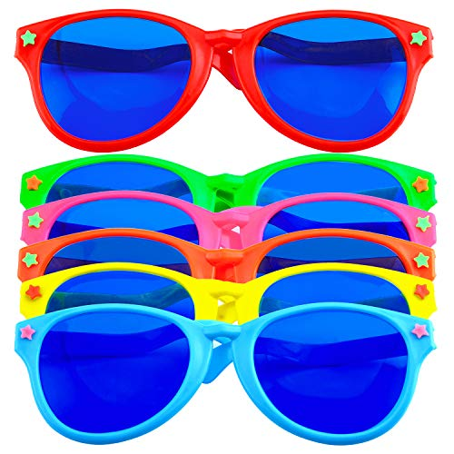 Coobey 6 Pieces Jumbo Plastic Sunglasses Colorful Jumbo Glasses for Costumes Hawaiian Beach Party Supplies