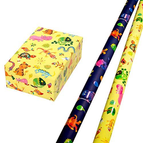 Geschenkpapier Kinder Set 2 Rollen, Motiv Krümel bunte Monster-Motive leuchten aus dem matten Fond glänzend heraus + Motiv Fantasia bunt glänzende Tiere auf gelbem Mattfond. Für Kinder, Geburtstag.