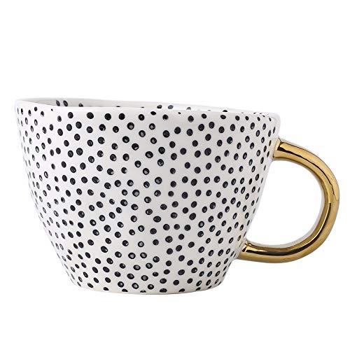 Große Steingut-Kaffeetasse, moderne Kaffeetassen, Teetassen mit goldenem Griff, Keramik, weiß und schwarz gepunktet
