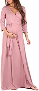 Women's Faux Wrap Maternity Dress with Adjustable Belt - Made in USA