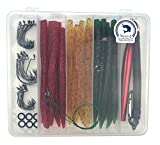 Nicer-S Fishing Lures Kit(108Pcs)-Artificial Soft Plastic Bait Set- Wacky Worms(24pcs 5.52'), Fishing Hooks, Fishing Trace Lures Leader, Wacky Rig Tool and O-Rings (108Pcs Fishing Lure Tackle)
