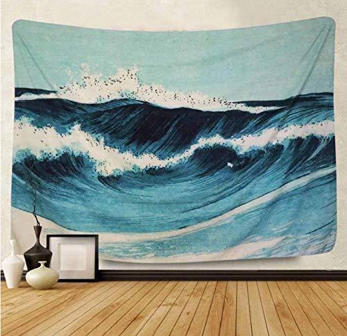Imprimé vague bleue tapisserie Tenture murale mer bleue tapisseries porte rideau Table tissu Canapé Couverture toile de fond Art tissu 200 * 150 cm