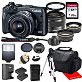 Canon EOS M6 Mirrorless Camera w/Canon EF-M 15-45mm F/3.5-6.3 is STM Zoom Lens & Professional Accessory Bundle W/ 128GB Memory Card & Case & Spare Battery & More