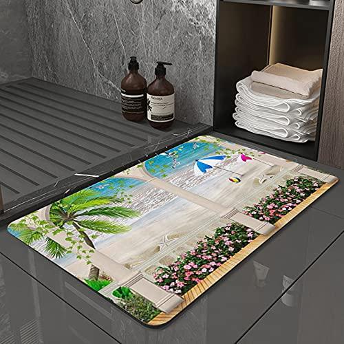 La Alfombra de baño es Suave y cómoda, Absorbente, Antideslizante,Vacaciones de Verano Mar Playa con Castillo BalcónApto para baño, Cocina, Dormitorio (50x80 cm)
