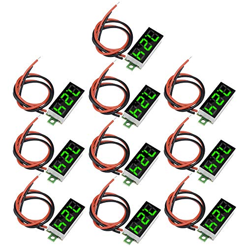 Diymore 10pcs Mini Digital 0.28' 2 Wire LED Panel Display Voltage Tester Voltmeter DC Volt Meter (Green)