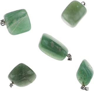 HOMYL Natural Mineral Pendants Necklace Natural Quartz Polished Stone for Jewelry - Green