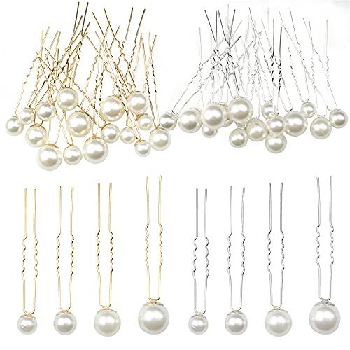 hocadon 32 Piezas Horquillas de Perlas en Forma de U, Horquillas Pelo...