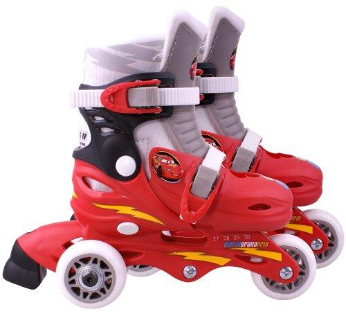 STAMP - DISNEY - CARS - J892301 - Vélo et Véhicule pour Enfant - Patins en Ligne 2 en 1 - 3 Roues Cars2 - Taille 27-30